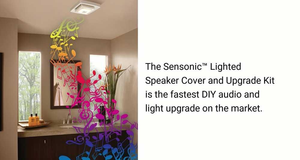 Ventilateur de salle de bain à pose rapide Broan avec éclairage à DEL et haut-parleur Bluetooth