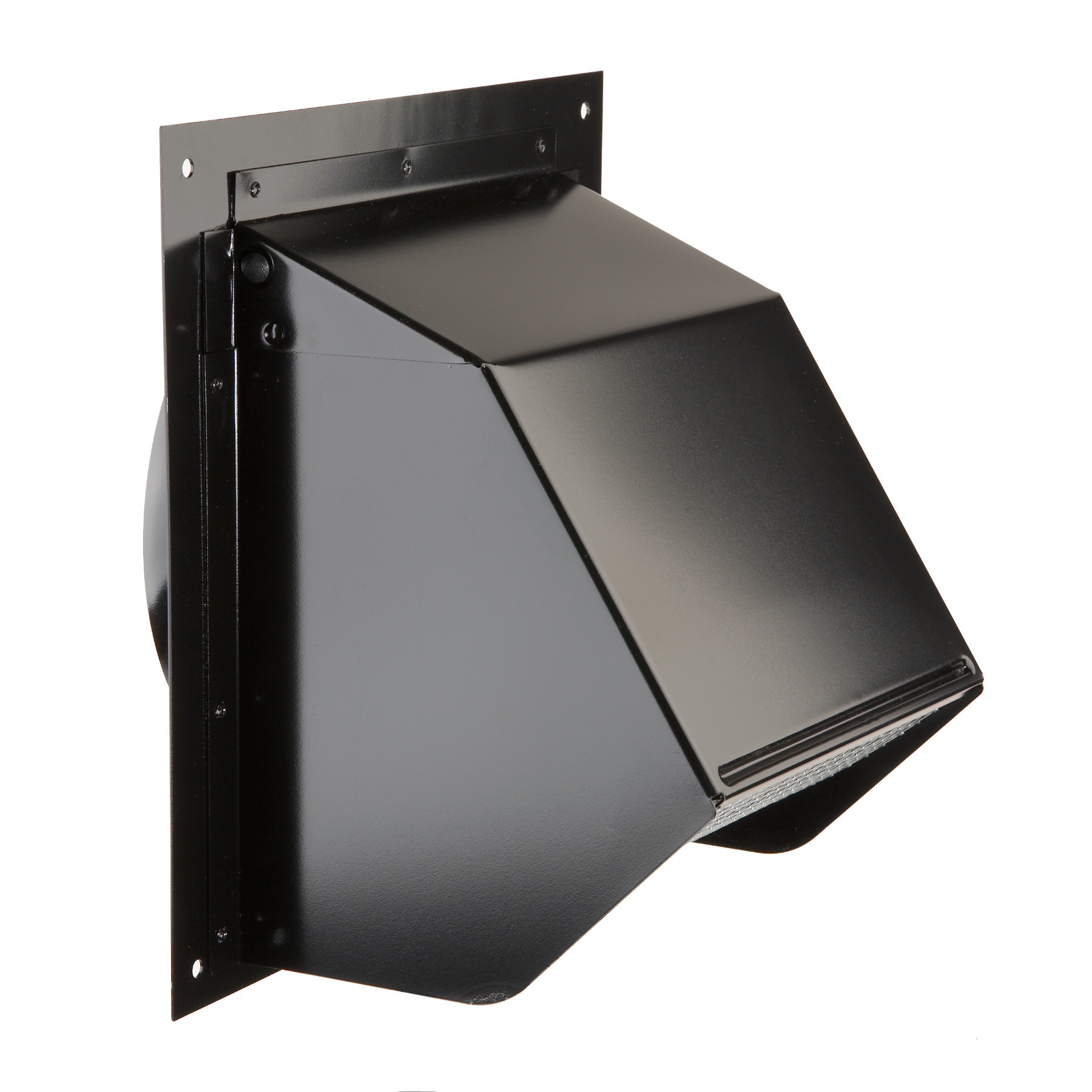 "Broan-NuTone® Steel Wall Cap for 6"" Round Duct with Backdraft Damper and Bird Screen, Black"