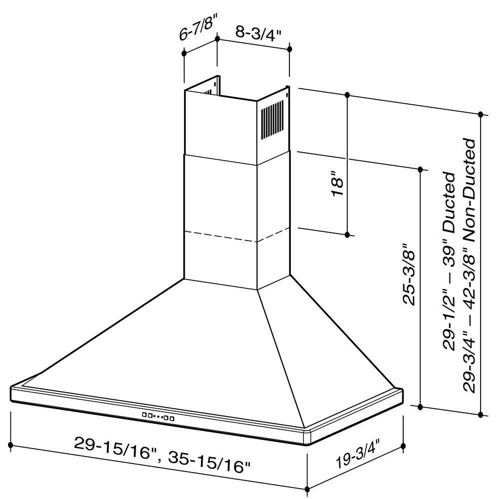 EW5836SS Broan® 36-Inch Convertible Canopy Wall-Mount