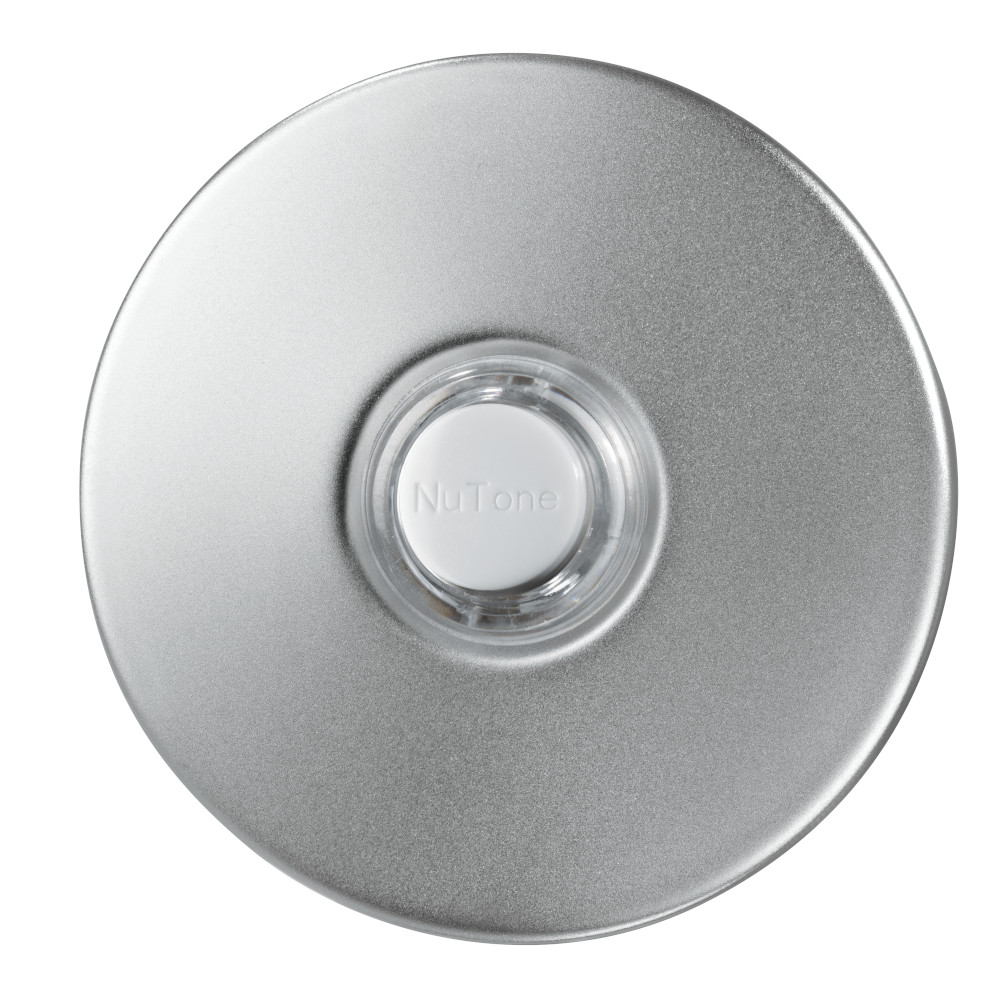 Lighted Round Satin Nickel Stucco Pushbutton