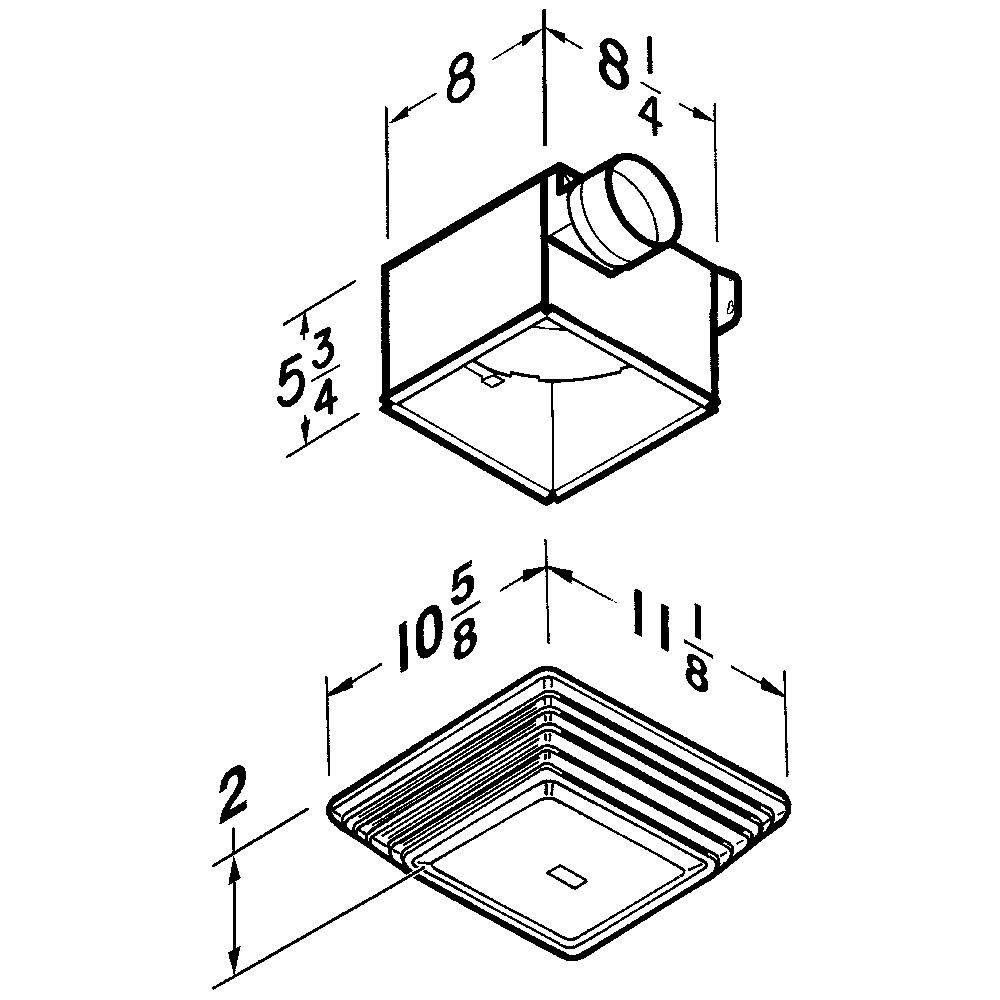 679 Broan® 70 CFM Ventilation Fan with light, 3.5 Sones