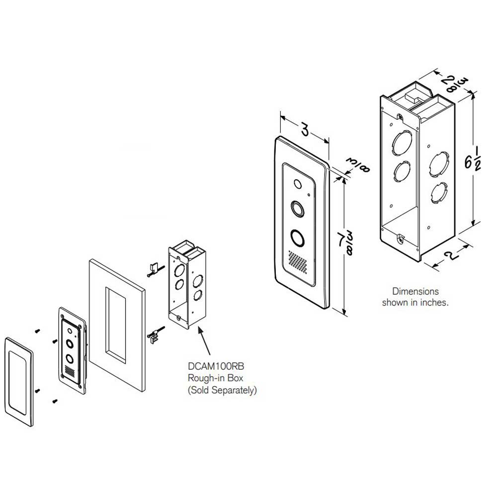 Knock Video Doorbell flush mount dimensions