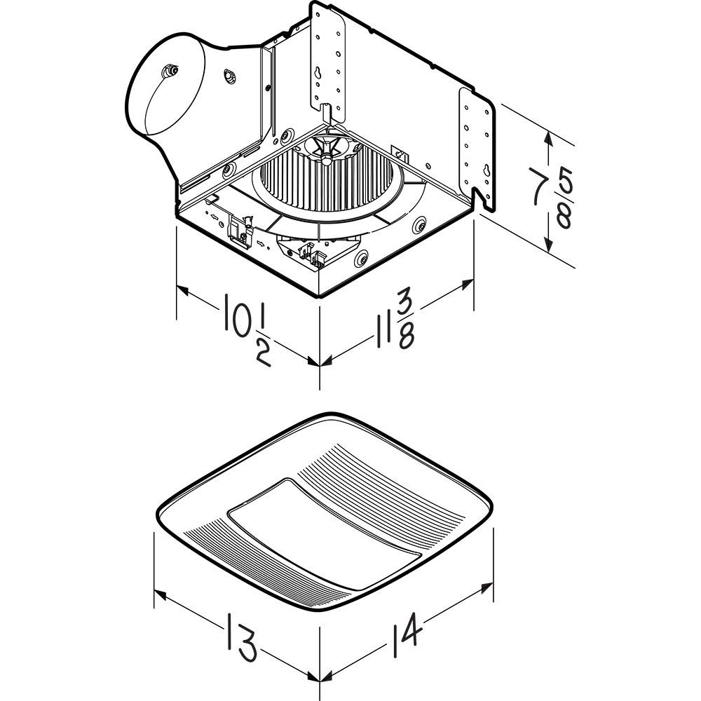 QT140LE Broan® 140 CFM Ventilation Fan Light with Night