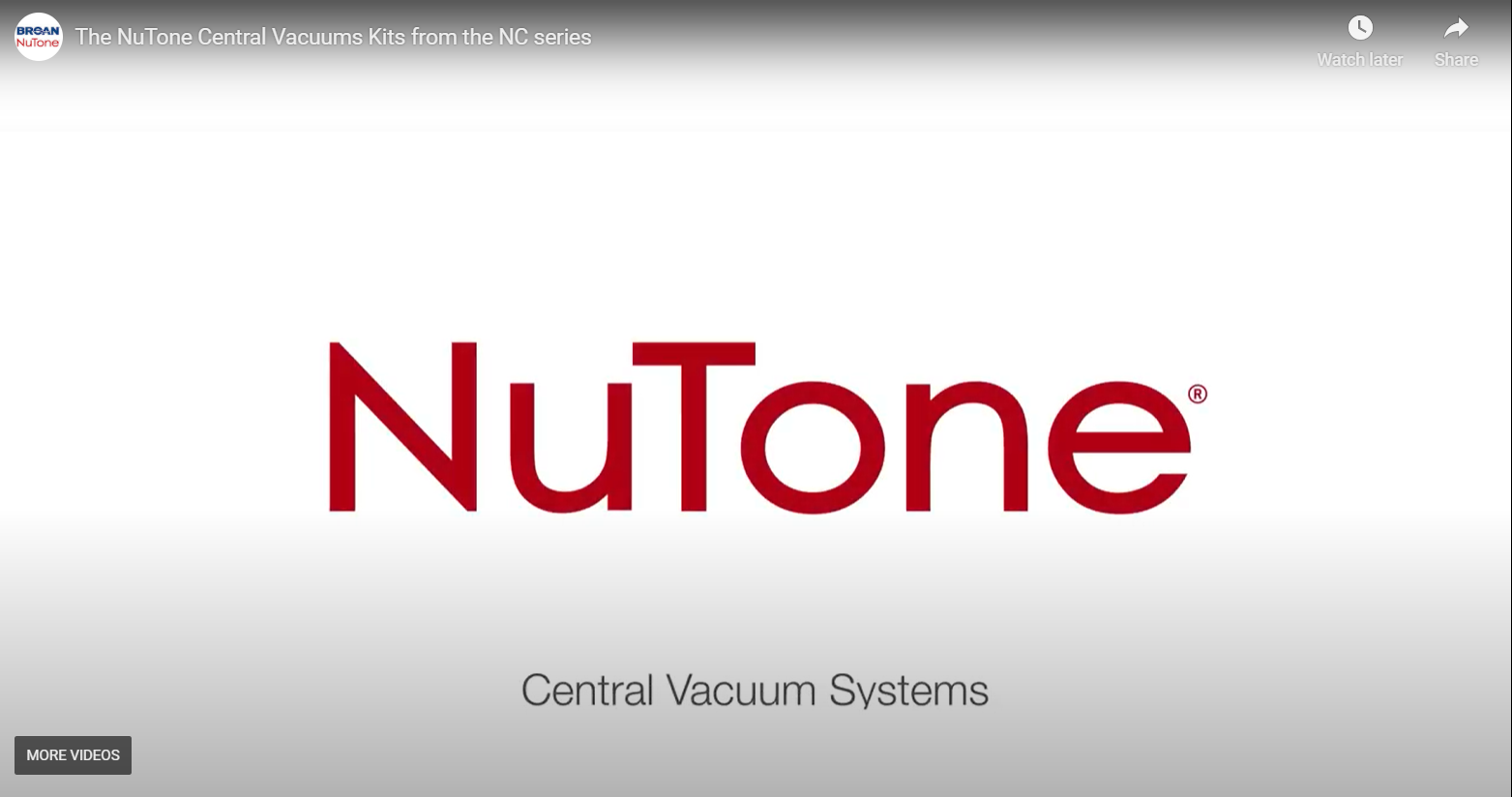 The NuTone Central Vacuums Kits from the NC series
