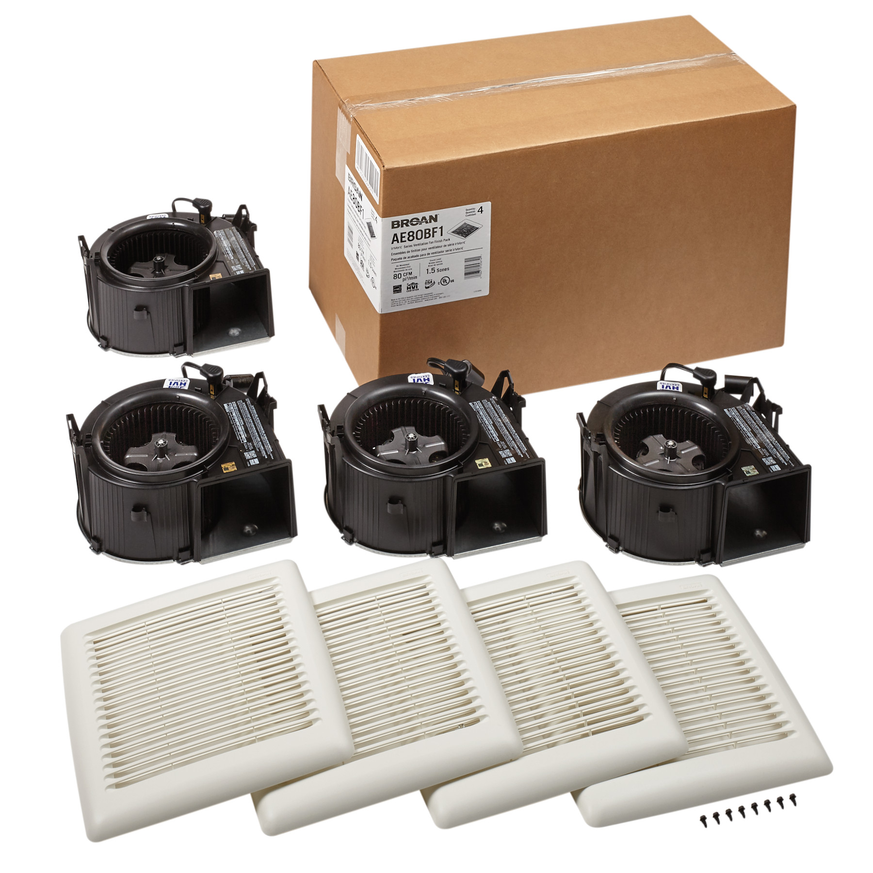 BROAN AE80BF1 FLEX SERIES BATHROOMVENTILATION FAN FINISH PACK 80 CFM1.5 SONES ENERGY STAR CERTIFIED