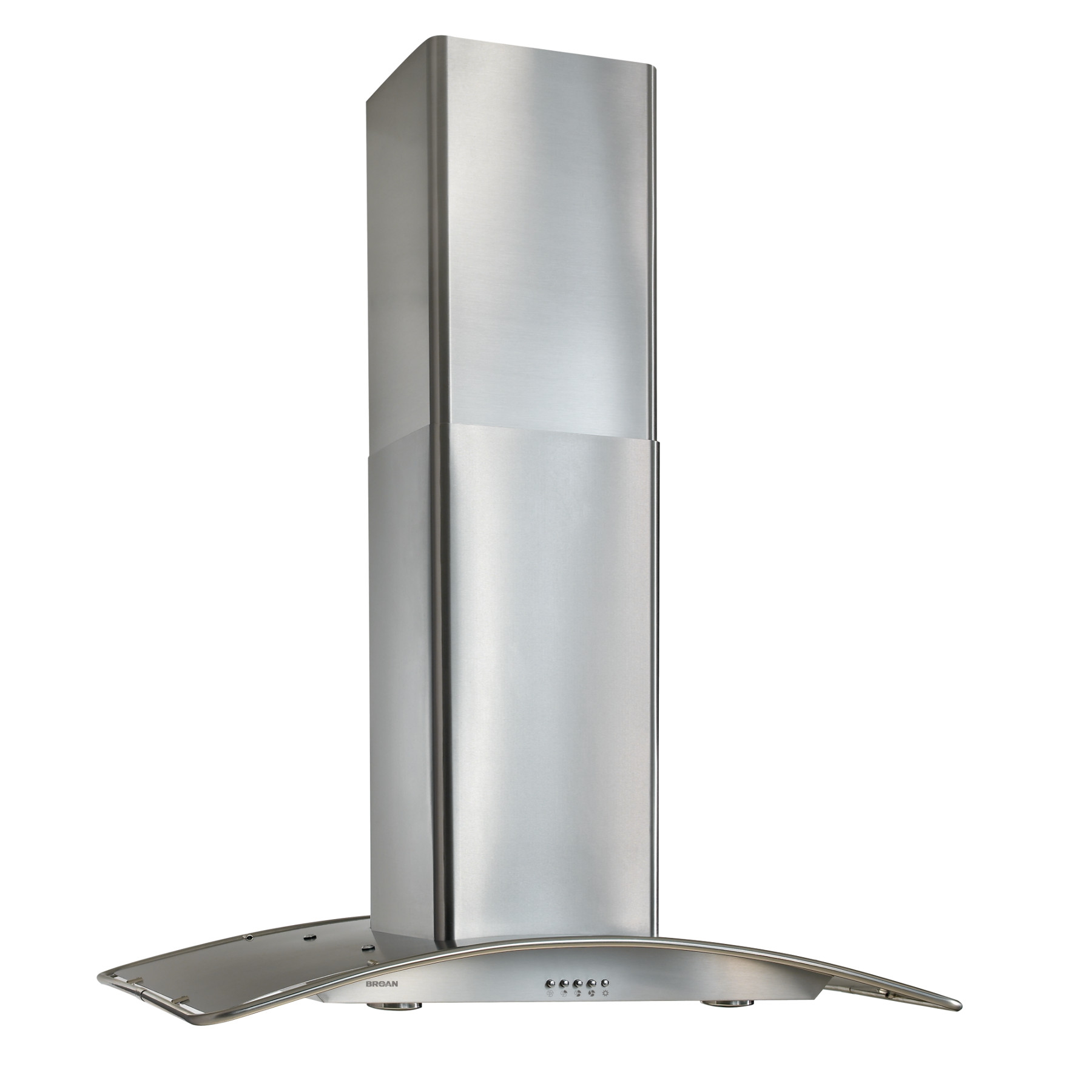 Broan® 36-Inch Convertible Arched Glass Island Range Hood, 450 CFM, Stainless Steel