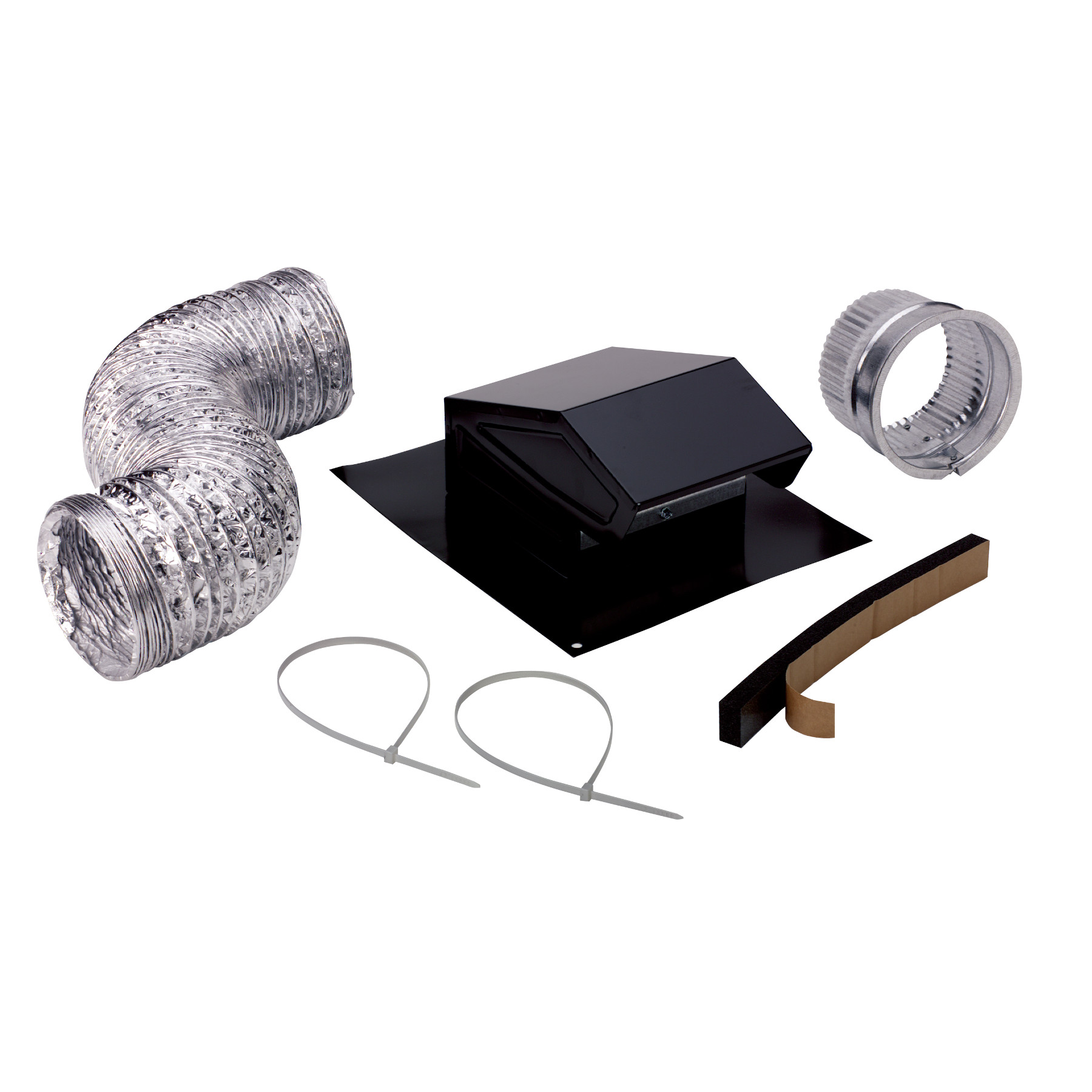 "Broan-NuTone® Steel Roof Vent Kit for 3"" or 4"" Round Duct, Includes Flexible Ducting, 4"" to 3"" Reducer, Duct Connector"