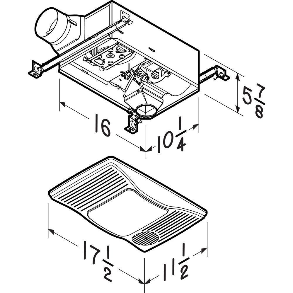 100HL Broan® 100 CFM Heater/Ventilation Fan/Light, 1500W Heater, 100W  Incandescent Light, 2.0 SonesBroan-NuTone