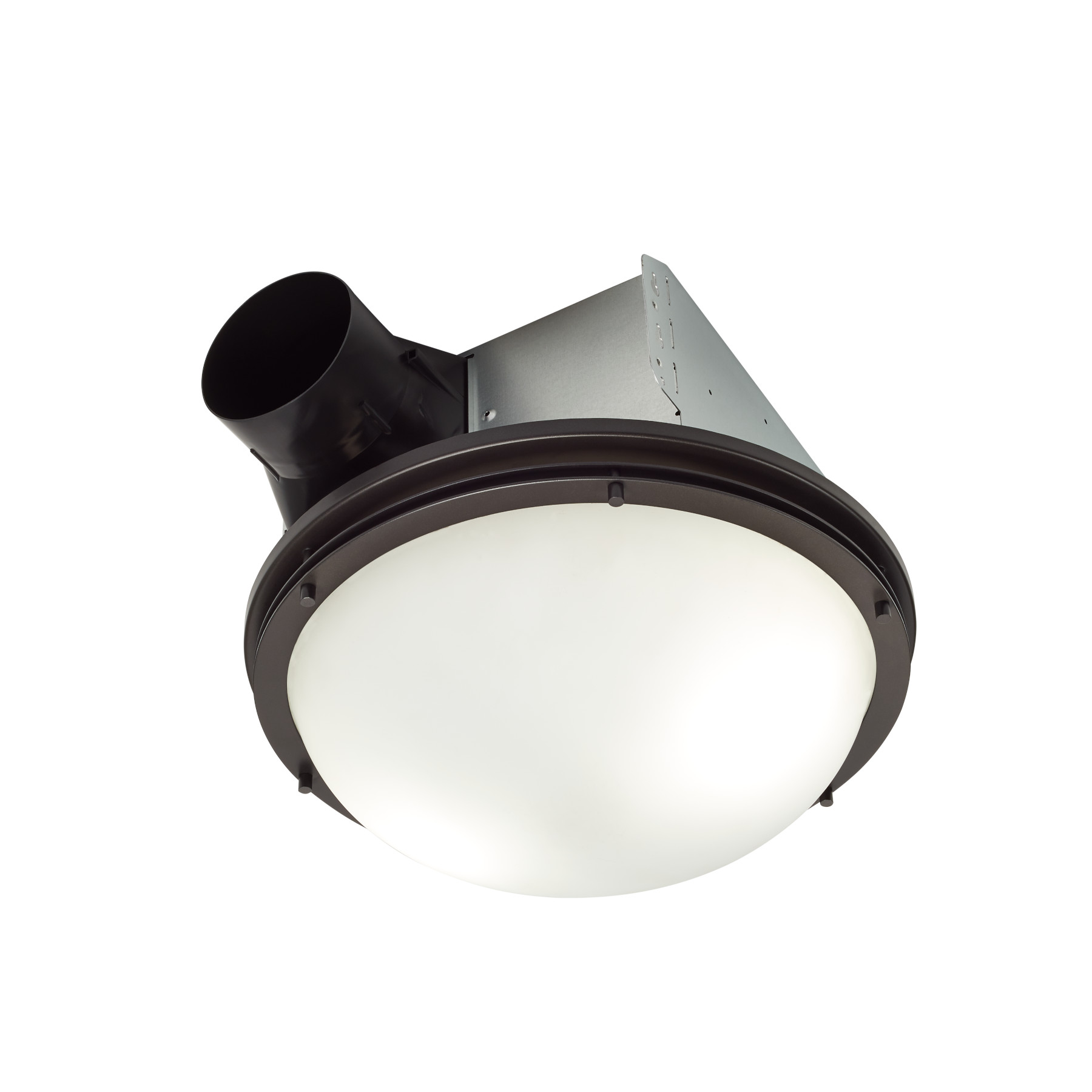 Decorative Oil-Rubbed Bronze 80 CFM  Roomside Installation Bathroom Exhaust Fan w/ Light and White Globe