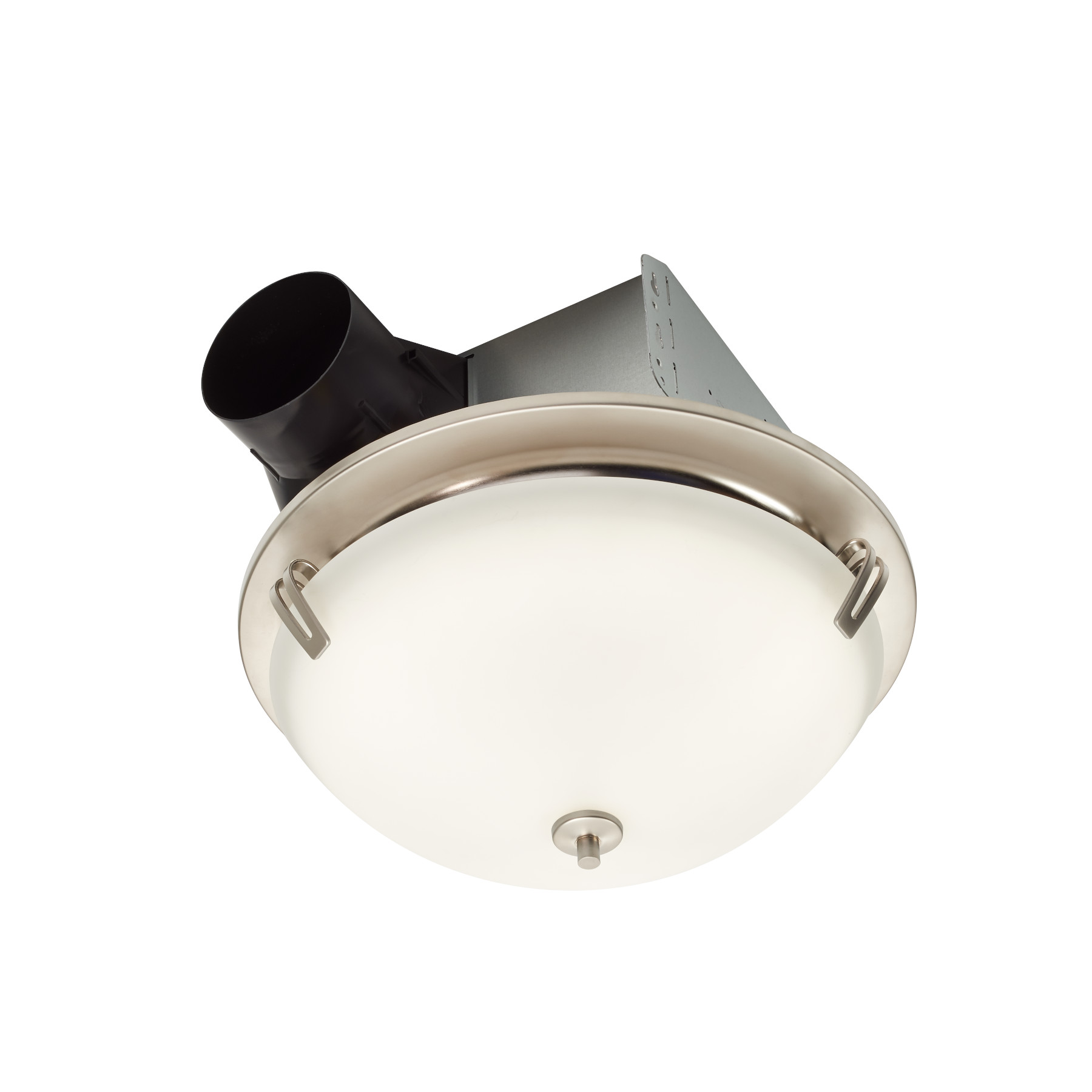 Roomside Decorative Satin Nickel 100 CFM Ceiling Roomside Install Bathroom Exhaust Fan w/ Light and Globe ENERGY STAR®