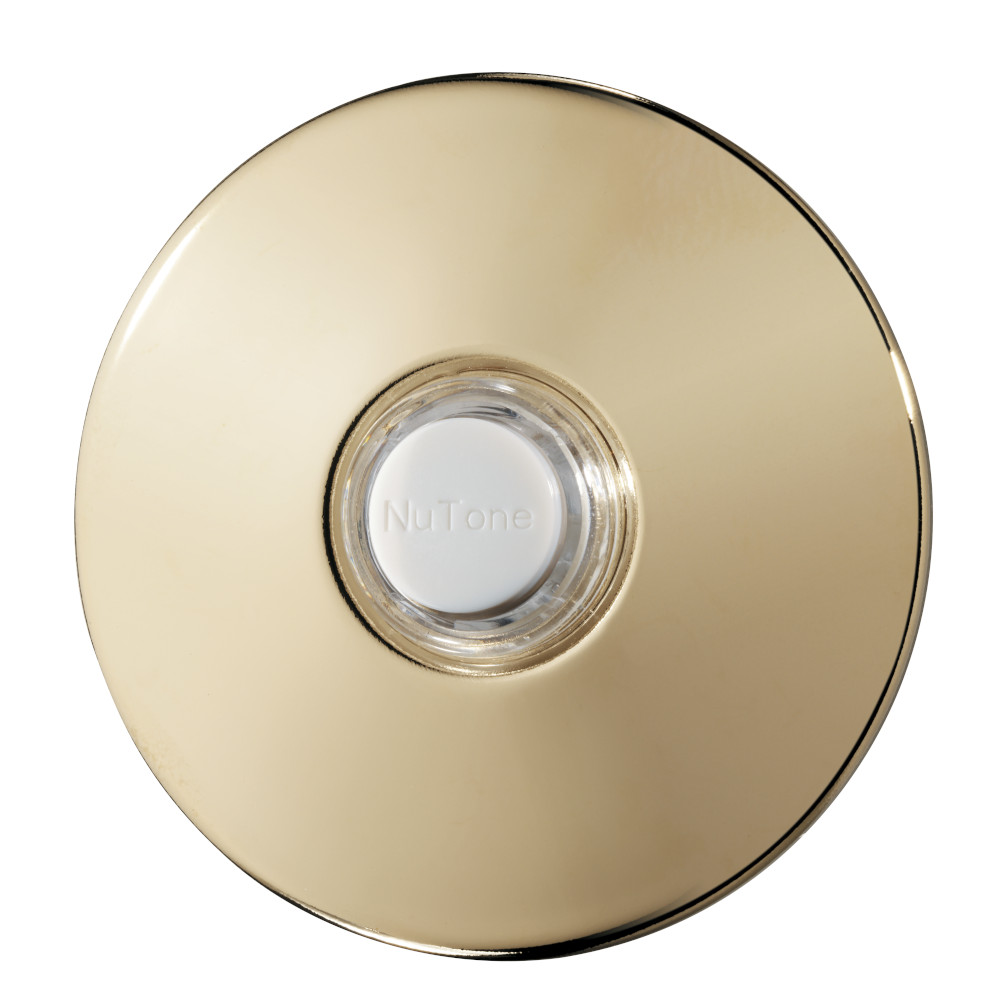 Lighted Round Polished Brass Stucco Pushbutton