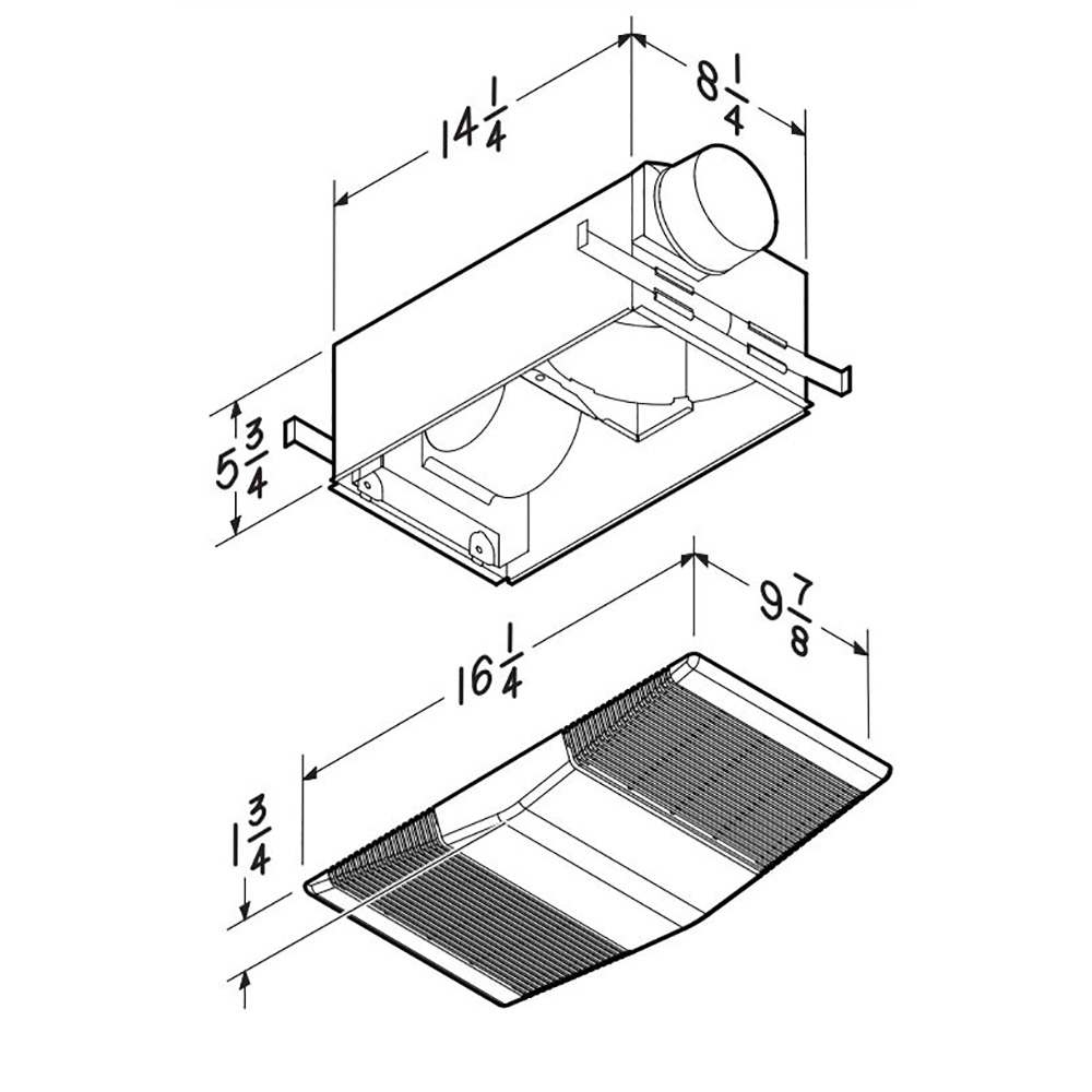 765H80L NuTone® 80 CFM Heater Ventilation Fan with light, 2.0 Sones