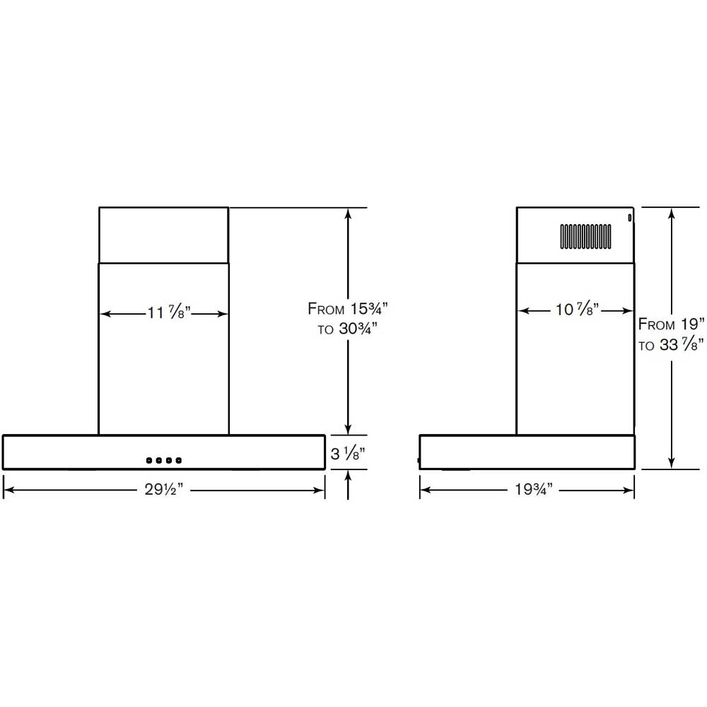 NW330SS Chimney Range Hood dimensions