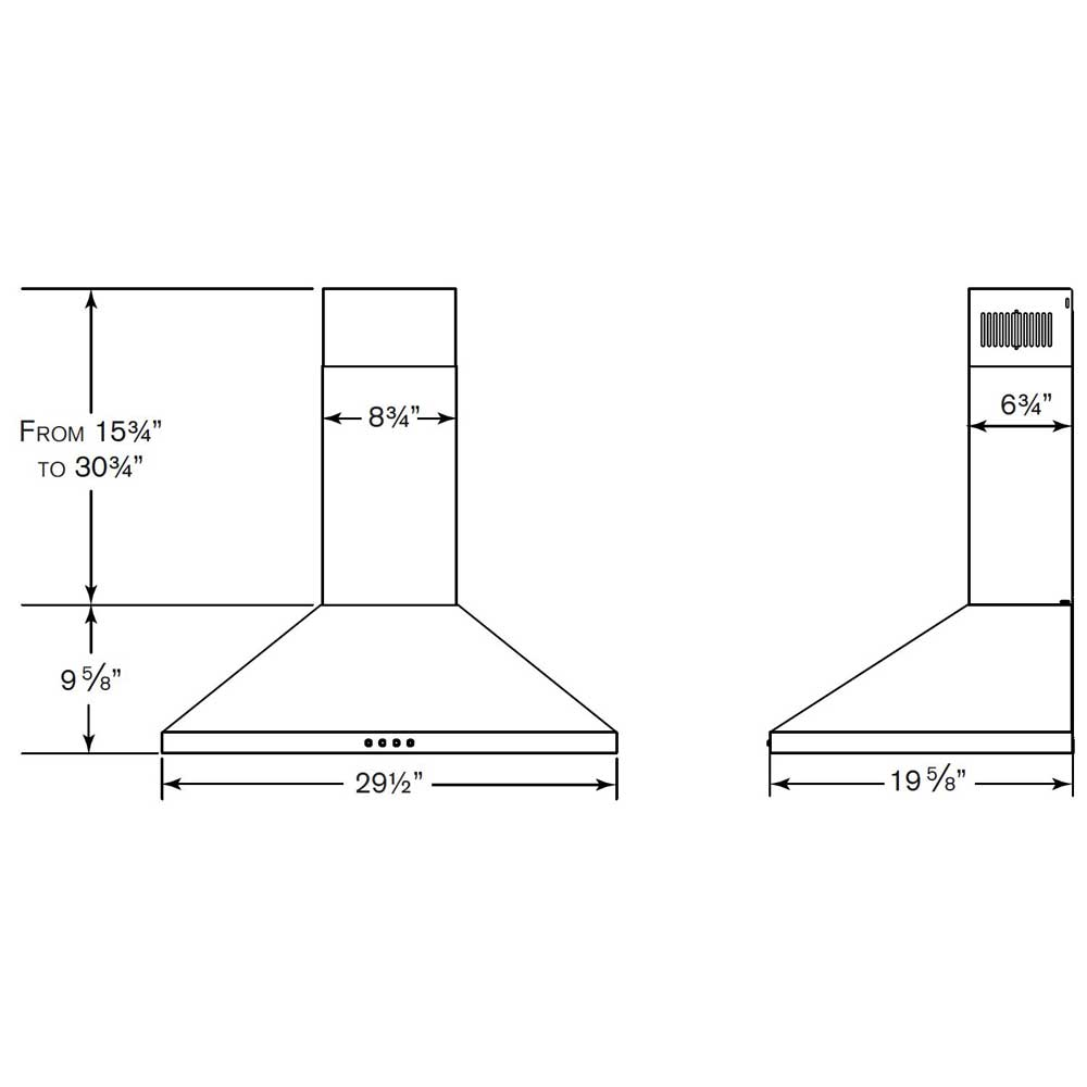 NW830SS Chimney Range Hood dimensions